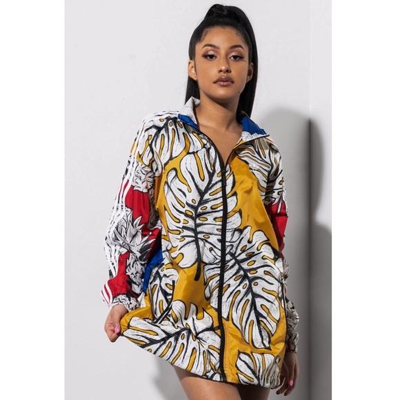 Yellow Palm windbreaker jacket from Adidas x Farm NWT